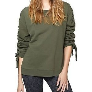 NWT Sanctuary Camden Ruched Tie-Sleeve Sweatshirt